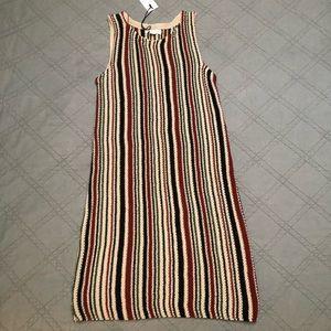 Love Riche Striped Knit Tank Dress Red Oatmeal M
